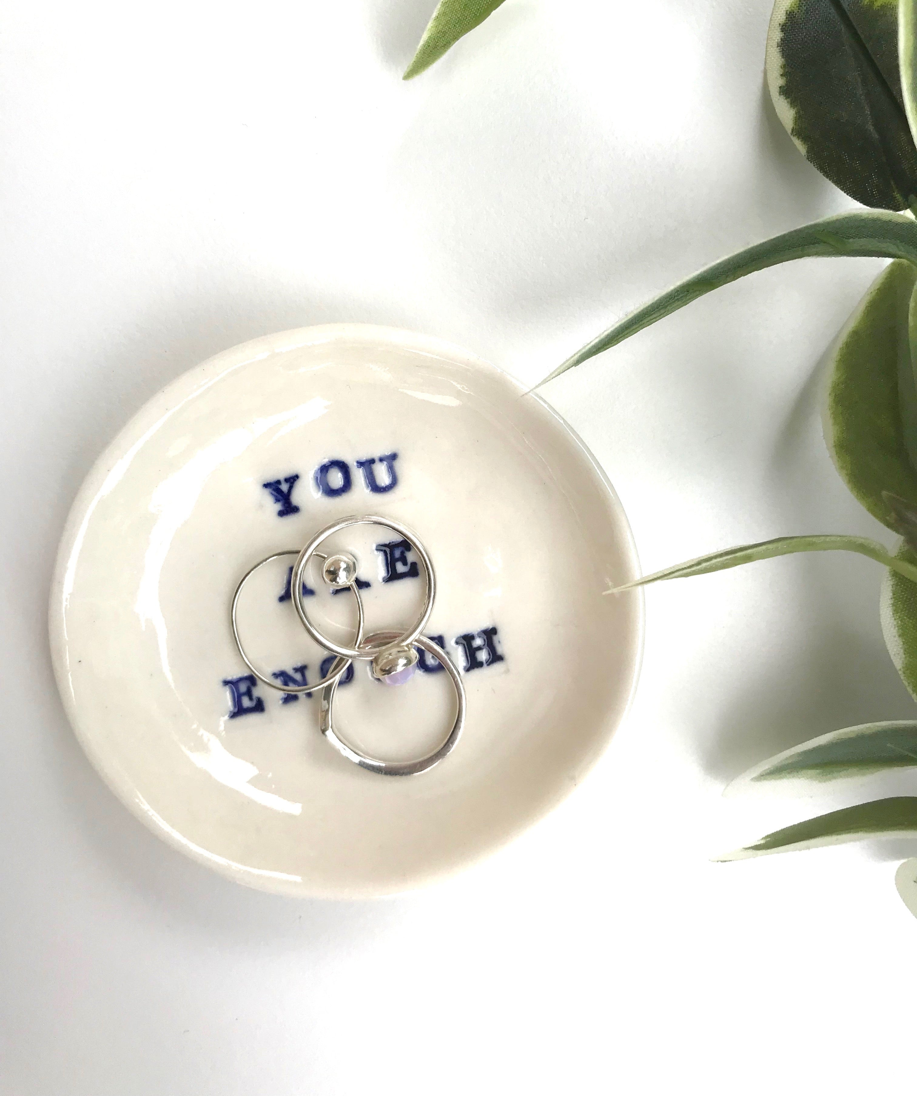 Trinket Dish with Affirmation (Porcelain) - Tea4Two Art (3 Affirmations Available)