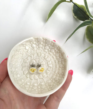Doily Earrings & Trinket Dish Gift Pack (Porcelain) - Tea4Two Art