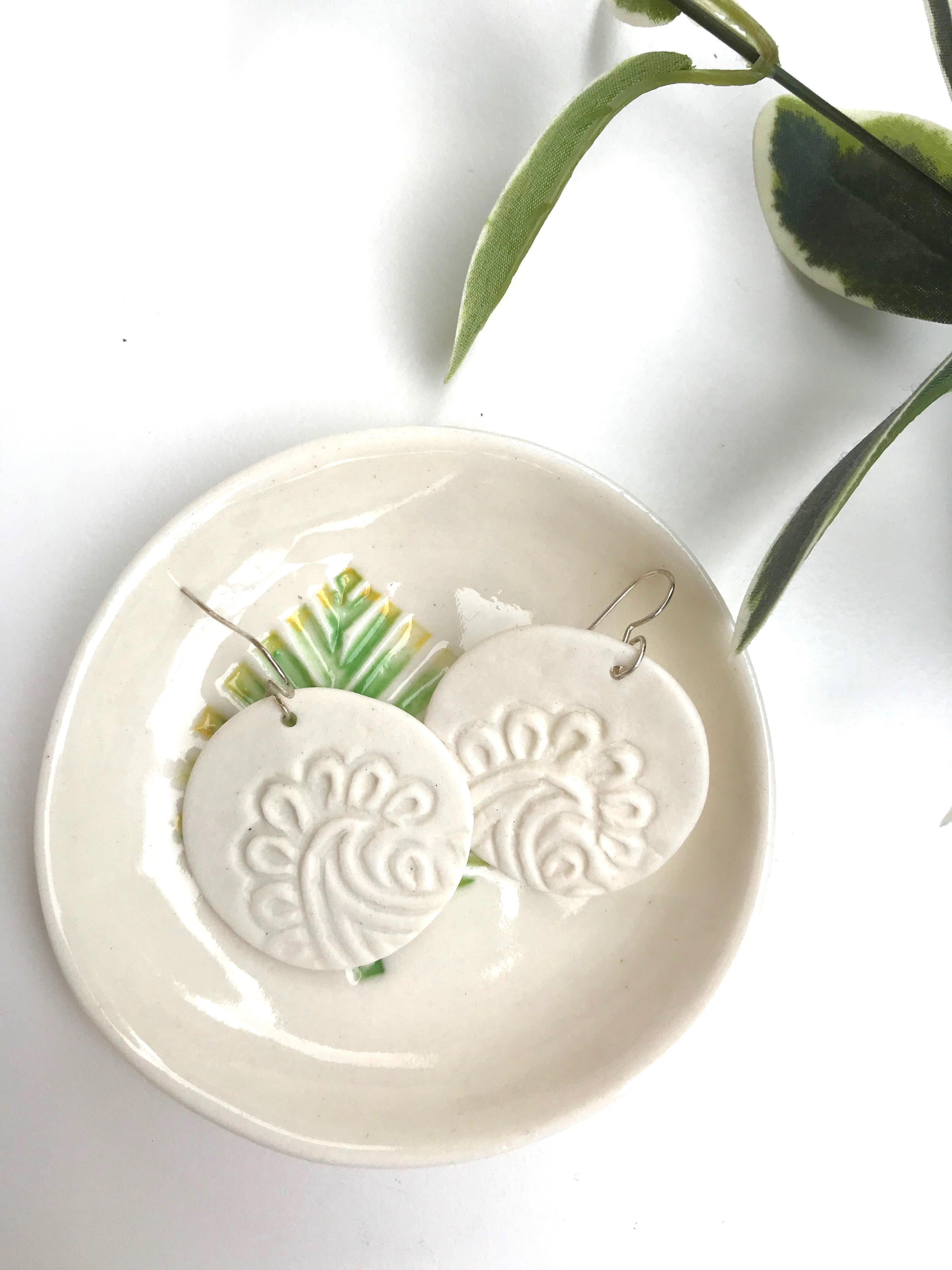 Palm Leaf Earrings & Trinket Dish Gift Pack (Porcelain) - Tea4Two Art