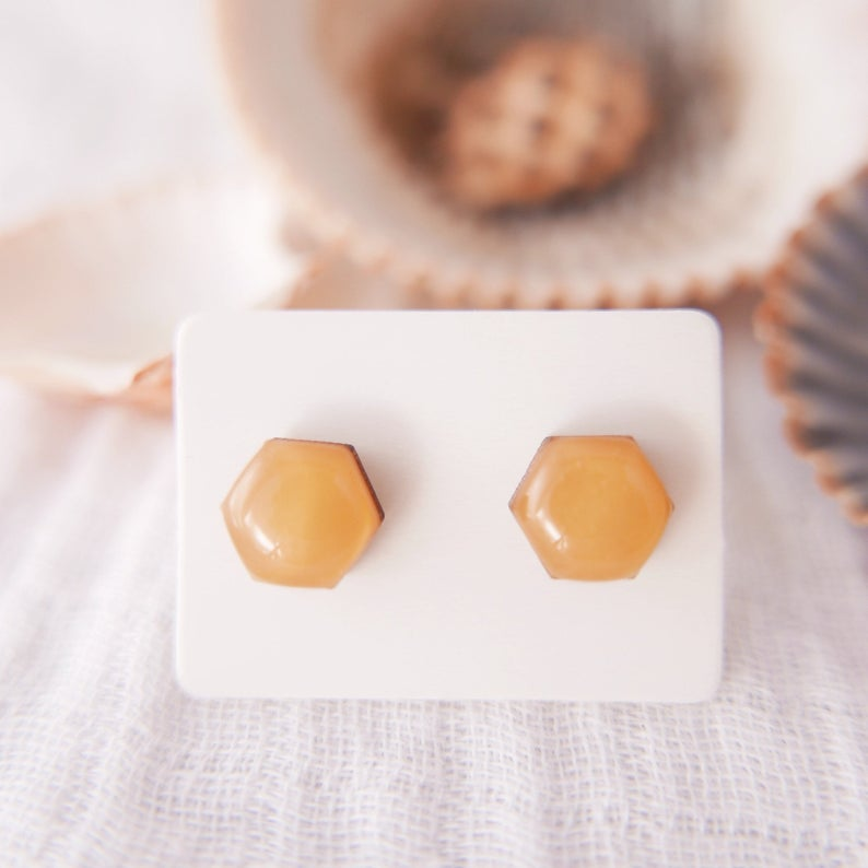 Stud Earrings in 'Mustard Hexagons' - Auburn Designs