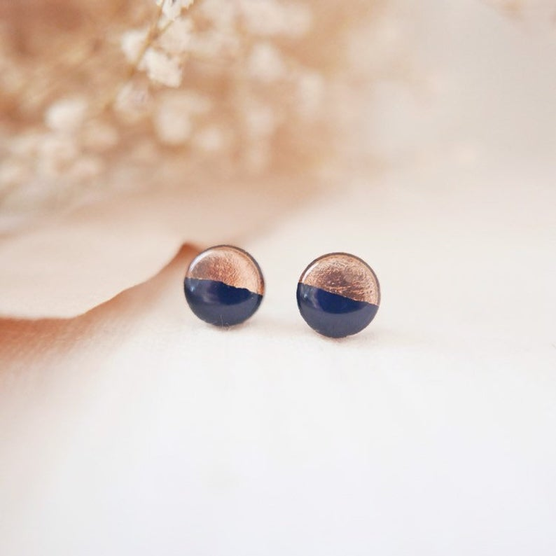Stud Earrings in 'Navy & Rose Gold' - Auburn Designs