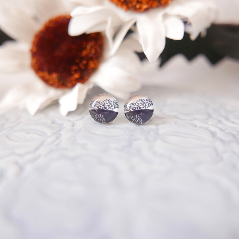 Glass Stud Earrings in 'Pastel Leopard' - Auburn Designs