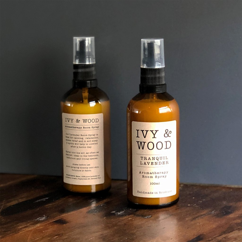 Room Spray with Pure Essential Oils in 'Tranquil Lavender' - Ivy & Wood