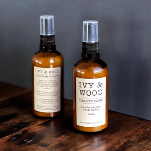 Room Spray with Pure Essential Oils in 'Vitality' - Ivy & Wood