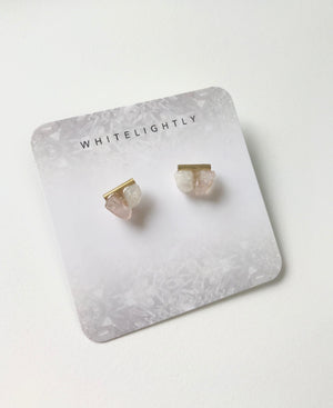 Crystal Earrings in Rose Quartz & Moonstone with Gold – WhiteLightly