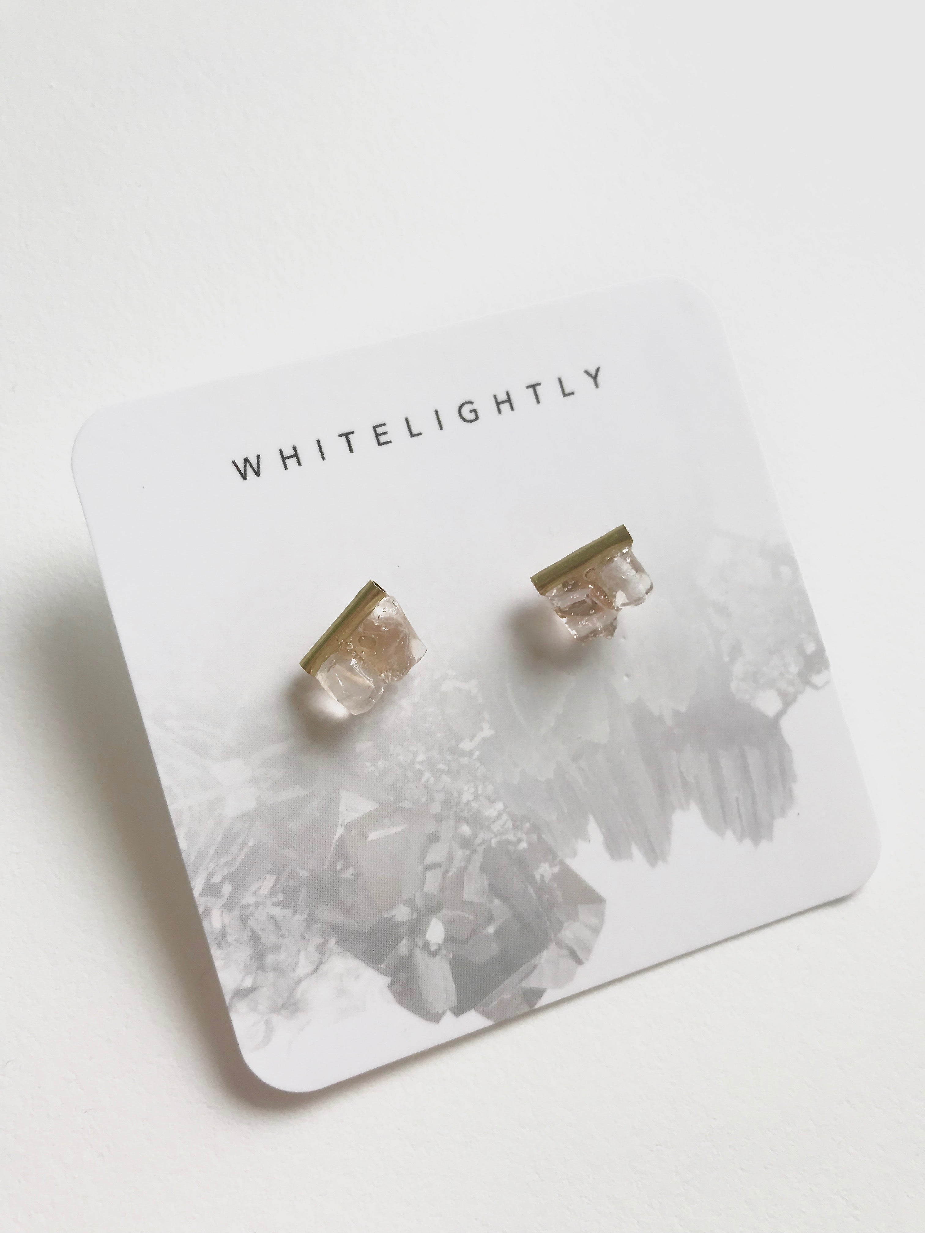 Crystal Earrings in Rose Quartz with Gold – WhiteLightly
