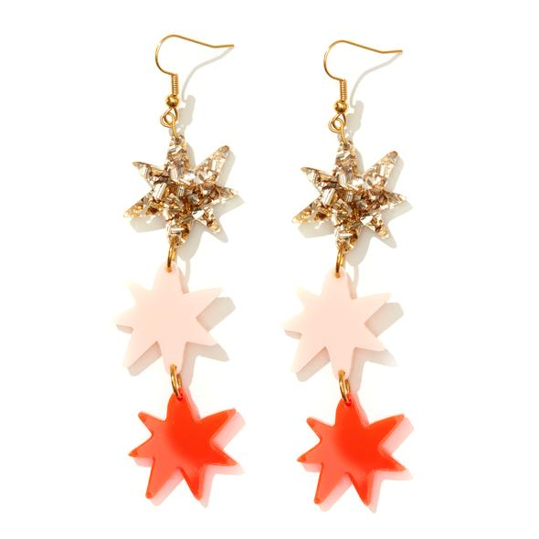 'Rosie' Earrings in Gold, Pink & Neon Red - Emeldo