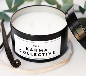 THE KARMA COLLECTIVE - Vanilla and Caramel  Scented Soy Candle Tin