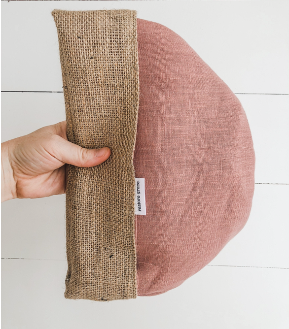RESTOREGRACE - Pot Plant Cover Blush Pink Linen and Hessian Reversible