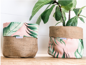 RESTOREGRACE - Pot Plant Cover - Blushing Palms Reversible Hessian