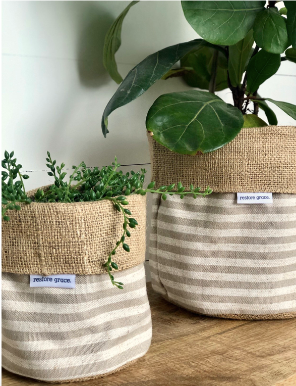 RESTOREGRACE - Pot Plant Cover -Taupe Scout Stripe and Hessian Reversible