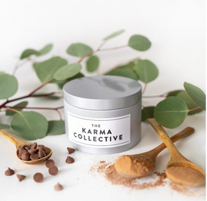 The Karma Collective - Cacao & Amber Scented Soy Candle Tin – Silver