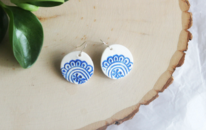Flower Drop Earring Small or Large (Porcelain) - Tea4Two Art