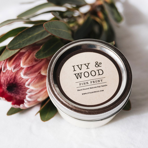 'Pink Peony' Soy Candle - Ivy & Wood