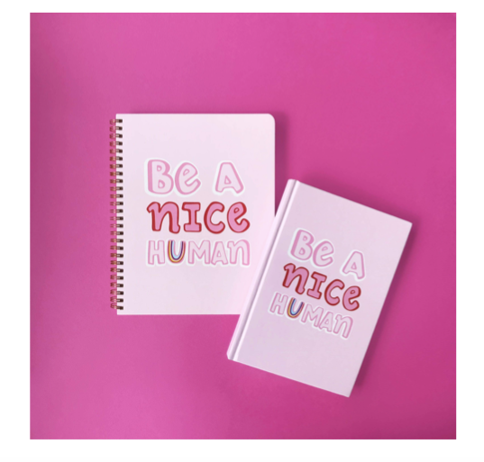 Notebook 'Be A Nice Human' - Blushing Confetti