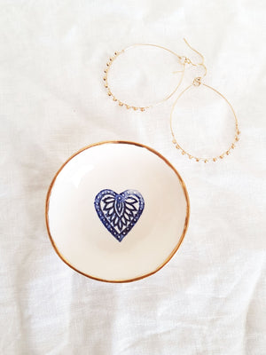 Trinket Dish with Blue Heart & Gold Rim (Porcelain) - Tea4Two Art