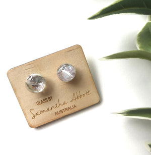 Glass Stud Earrings 'White Sparkle' - Glass by Samantha Abbott
