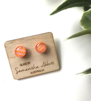 Glass Stud Earrings 'Orange Stripe' - Glass by Samantha Abbott