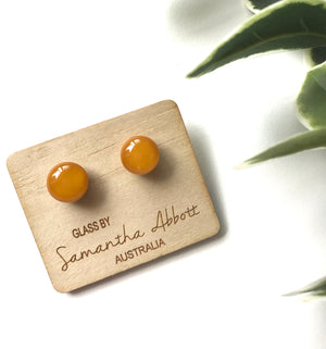 Glass Stud Earrings 'Mustard' - Glass by Samantha Abbott