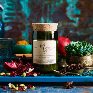 Reclaimed Wine Bottle Soy Wax Candle – Moroccan Spice
