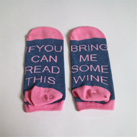 """If You can Read this Bring me Some Wine/Beer"" Printed Socks - UrbanWorld.eu"