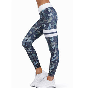 "High Waist Compression Gym Leggings ""Blue Army"" - UrbanWorld.eu"