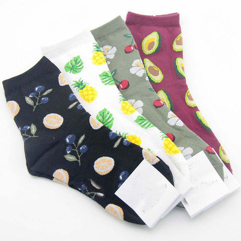 "Printed Fresh Fruit Cartoon Socks ""Fresh&Fruity"" - UrbanWorld.eu"