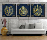 Set of 3 Islamic wall art Canvas painting framed for Muslim Home Decor