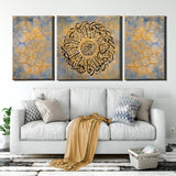 Set of 3 modern islamic wall art Canvas framed ideal for muslim Home Decor, Quran surah Al-ikhlas