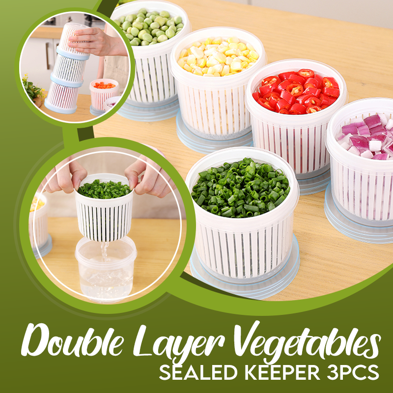 Double Layer Vegetables Sealed Keeper (3 PCS)