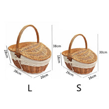 Load image into Gallery viewer, Dimensions for small and large wicker picnic baskets