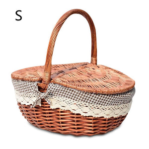 Small burgundy wicker picnic basket