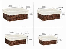 Load image into Gallery viewer, The four sizes and dimensions of our wicker storage baskets
