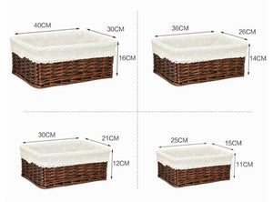 The four sizes and dimensions of our wicker storage baskets