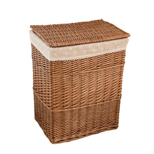 Brown wicker laundry hamper with white liner