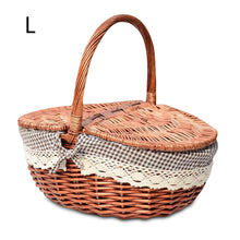 Load image into Gallery viewer, Large burgundy wicker picnic basket
