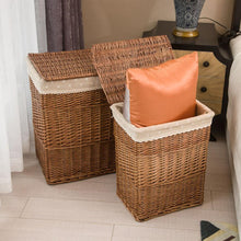 Load image into Gallery viewer, Brown wicker hampers in bedroom