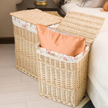 Load image into Gallery viewer, White wicker laundry baskets in bedroom