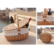 Load image into Gallery viewer, Enjoy lunch with wine packed in our wicker picnic baskets