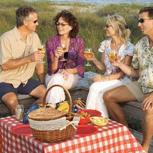 Load image into Gallery viewer, Couples at beach picnic with wicker basket