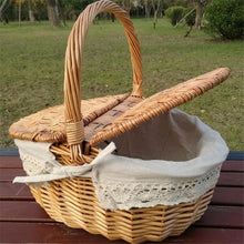 Load image into Gallery viewer, Handmade Wicker Picnic Basket at Annie's Baskets