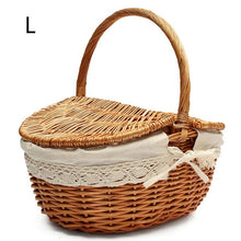Load image into Gallery viewer, Large beige wicker picnic basket