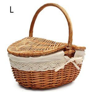 Large beige wicker picnic basket