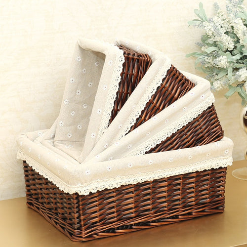 Four sizes of our brown wicker storage basket