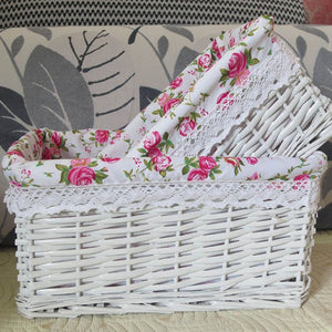 White with flower liner wicker storage basket