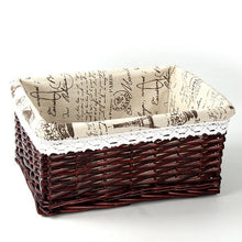 Load image into Gallery viewer, Brown with Paris-themed liner wicker storage basket