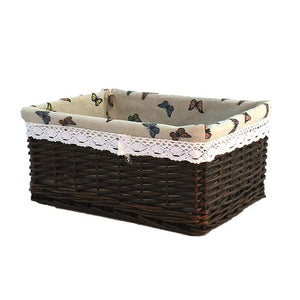 Brown with butterfly-themed liner wicker storage basket