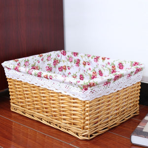 Beige with flower liner wicker storage basket