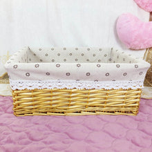 Load image into Gallery viewer, Beige with sunburst liner wicker storage basket