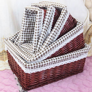 Brown with plaid liner wicker storage basket